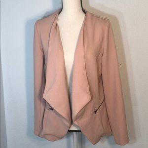 Elodie Pink Open Blazer w Faux Zipper Detail NWOT